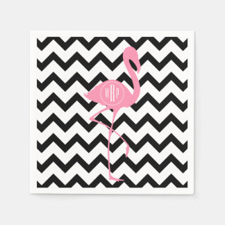 Monogrammed Pink Flamingo + Black Chevron Paper Serviettes