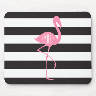 Monogrammed Pink Flamingo + Black + White Stripes Mouse Pad