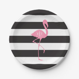 Monogrammed Pink Flamingo + Black + White Stripes Paper Plate