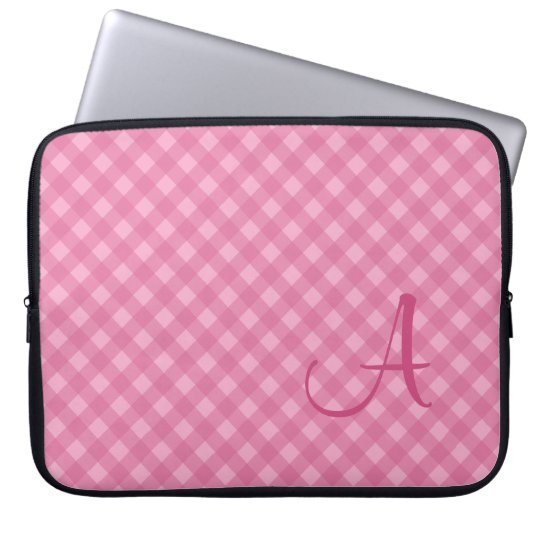 Monogrammed Pink Gingham Laptop Sleeve