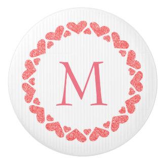 Monogrammed Pink Glitter Hearts Ceramic Knob