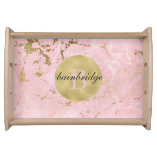 Monogrammed Pink/Gold Marble Tray