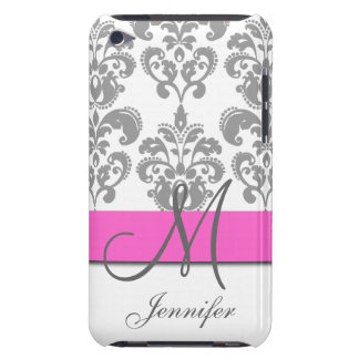 Monogrammed Pink Gray Swirls Damask Pattern iPod Touch Case-Mate Case