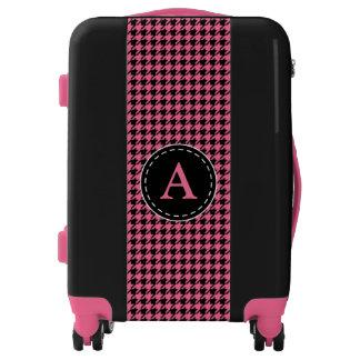 Monogrammed Pink Houndstooth Luggage
