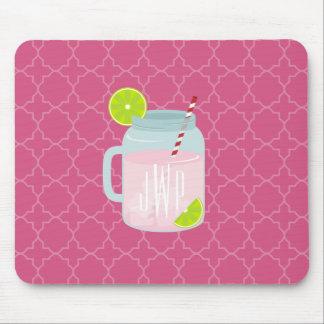 Monogrammed Pink Lemonade + Berry Quatrefoil Mouse Pad