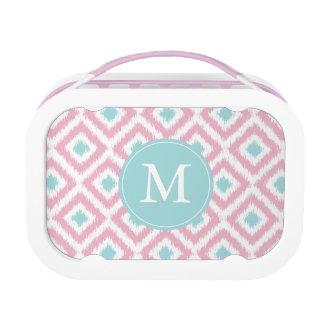 Monogrammed Pink Mint Diamonds Ikat Pattern Yubo Lunchbox