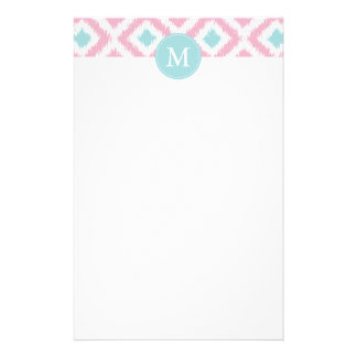 Monogrammed Pink Mint Diamonds Ikat Pattern Stationery Paper