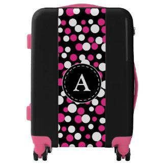 Monogrammed Pink Polka Dot Luggage