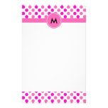 Monogrammed Pink Polka Dots Stationery Paper