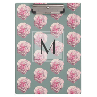 Monogrammed Pink Rose Watercolor Illustration Clipboard