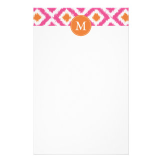 Monogrammed Pink Tangerine Diamonds Ikat Pattern Customised Stationery