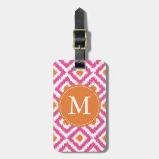 Monogrammed Pink Tangerine Diamonds Ikat Pattern Luggage Tag