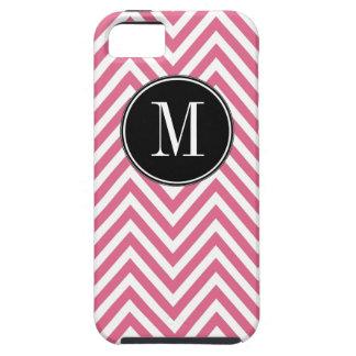 Monogrammed Pink  White Chevron Zig Zag Pattern iPhone 5 Cover