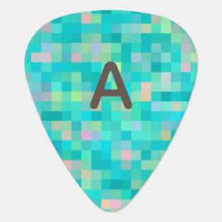 Monogrammed Pixel Art Multicolor Pattern Guitar Pick