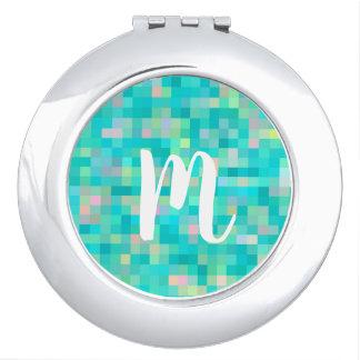 Monogrammed Pixel Art Multicolor Pattern Travel Mirrors