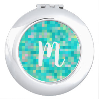 Monogrammed Pixel Art Multicolor Pattern Vanity Mirror