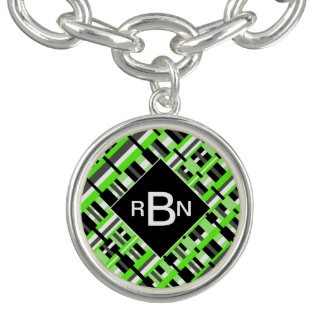 Monogrammed Plaid in Lime Green, Black & Gray