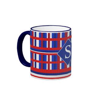 Monogrammed Plaid Patriot Red White & Blue Coffee Mugs