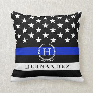 Monogrammed Police Styled American Flag Custom Cushion