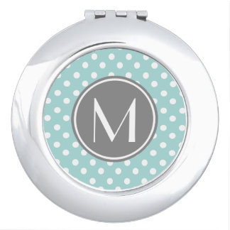 Monogrammed Polka Dots Pattern Gifts Makeup Mirror