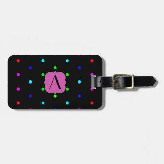 Monogrammed polkadot colorfuls on black background luggage tags
