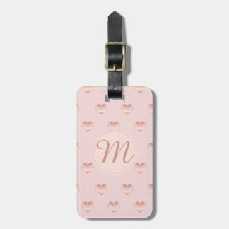 Monogrammed Precious Rose Gold Heart Pattern Luggage Tag