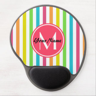 Monogrammed Pretty Chic Stripes Pattern Gel Mouse Pad