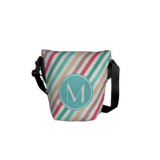 Monogrammed Pretty Chic Stripes Pattern Courier Bag