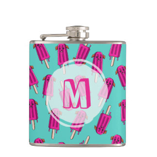 """Monogrammed """"Pupsicle"""" Pattern Hip Flask"""