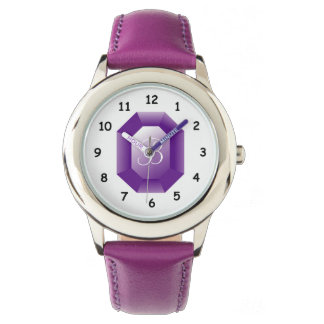 Monogrammed purple Amethyst gemstone girl's watch