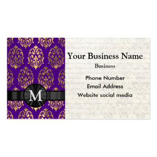 Monogrammed purple and gold damask pack of standard business cards