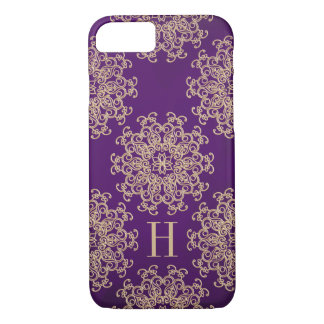Monogrammed Purple and Gold Exotic Medallion iPhone 8/7 Case
