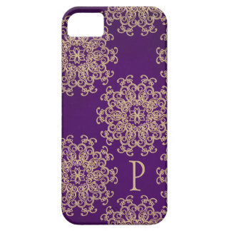 Monogrammed Purple and Gold Indian Pattern iPhone 5/5S Cover