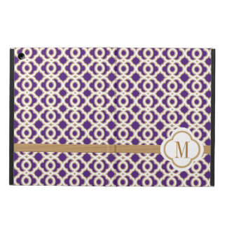 MONOGRAMMED PURPLE AND GOLD MOROCCAN iPad AIR CASE