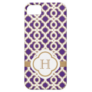 Monogrammed Purple and Gold Moroccan iPhone 5 Case