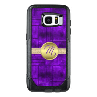 Monogrammed Purple and Gold OtterBox Samsung Galaxy S7 Edge Case