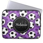 Monogrammed Purple Black Soccer Ball Pattern Laptop Sleeve