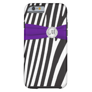 Monogrammed Purple, Black, White Zebra Striped Tough iPhone 6 Case