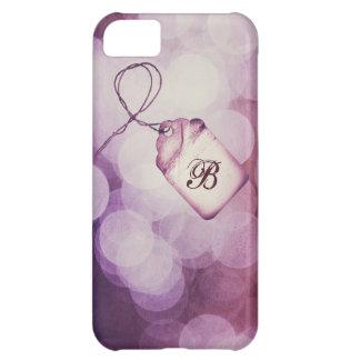 Monogrammed Purple Bokeh Design iPhone 5C Case