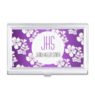 Monogrammed purple cherry blossom professional business card holder