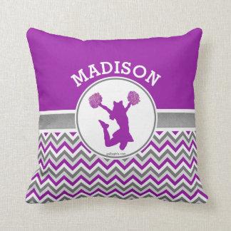 Monogrammed Purple Chevron Stripes Pom or Cheer Cushion