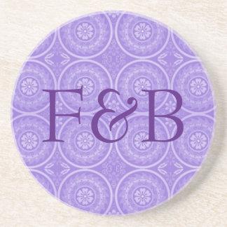 Monogrammed Purple Geometric Floral Coasters