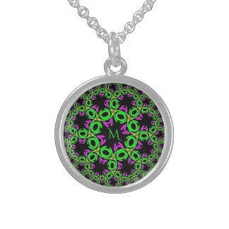 Monogrammed Purple Green Fantasy Flower Sphere Sterling Silver Necklace