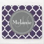 Monogrammed Purple & Grey Quatrefoil Mouse Mat