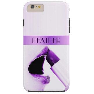 Monogrammed Purple Lips Tough iPhone 6 Plus Case