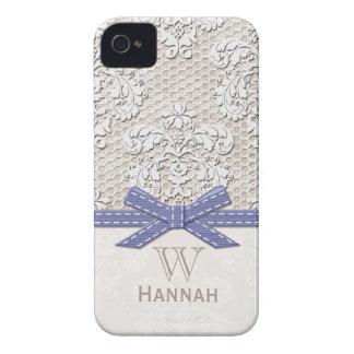 Monogrammed Purple Vintage Lace Pearl Case-Mate iPhone 4 Case