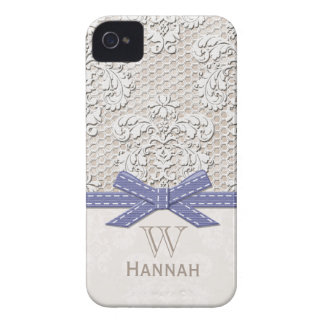 Monogrammed Purple Vintage Lace Pearl iPhone 4 Case-Mate Cases