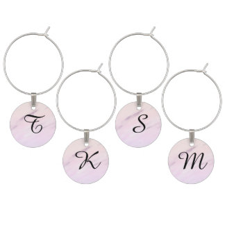 Monogrammed Purple Watercolor Charms