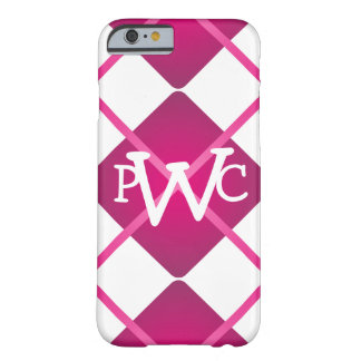 Monogrammed Raspberry Pink White Large Argyle Barely There iPhone 6 Case