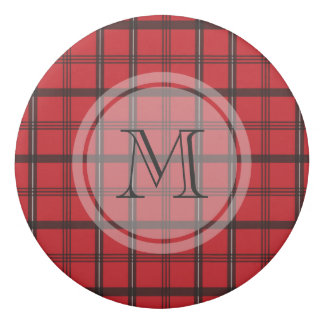 Monogrammed Red and Black Tartan Plaid Eraser